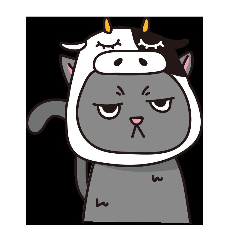 牛のかぶりもので不機嫌なネコ(グレー)