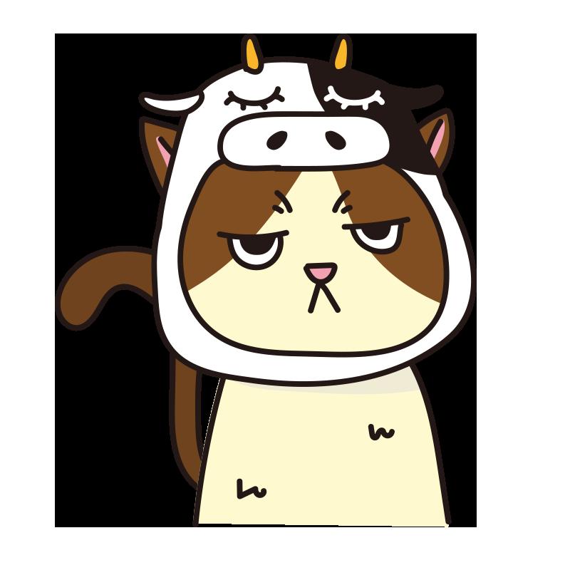 牛のかぶりもので不機嫌なネコ(ハチワレ)