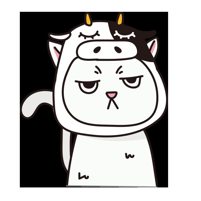 牛のかぶりもので不機嫌なネコ(白)