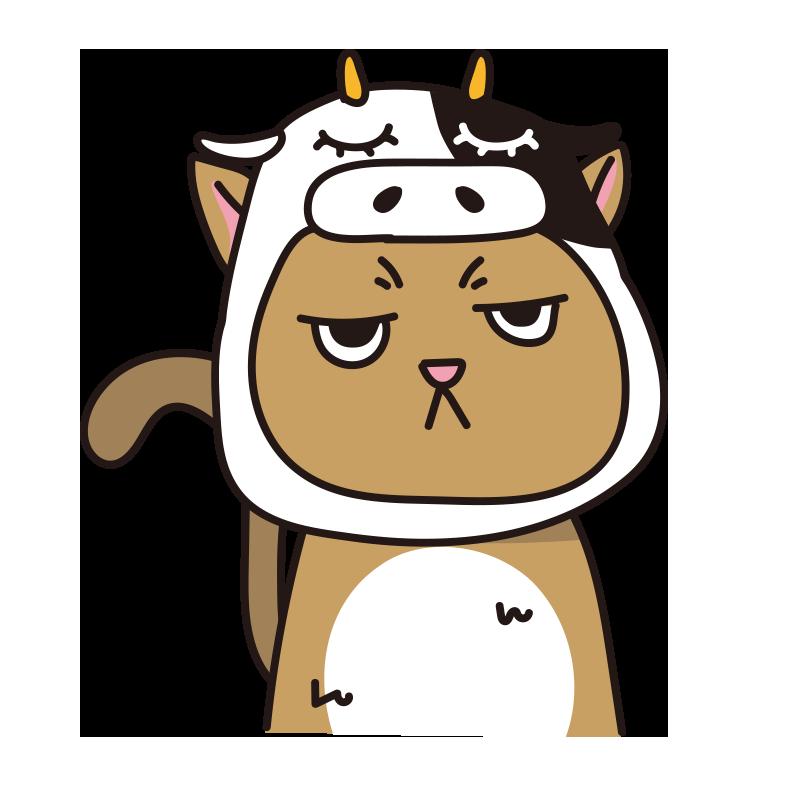 牛のかぶりもので不機嫌なネコ(茶)