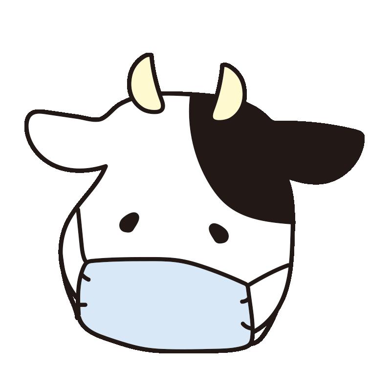 マスクをつけた牛(青)