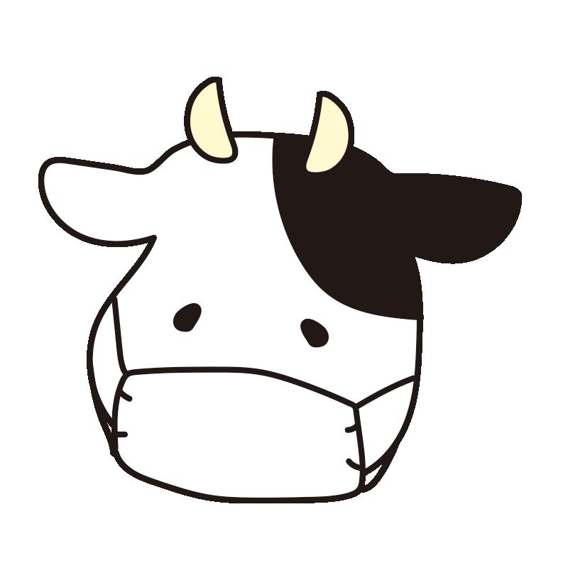 マスクをつけた牛(白)
