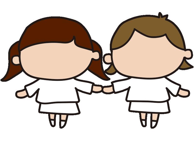 女の子と女の子(表情と洋服の塗り絵)