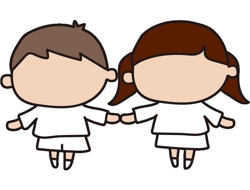 男の子と女の子2(表情と服装の塗り絵)