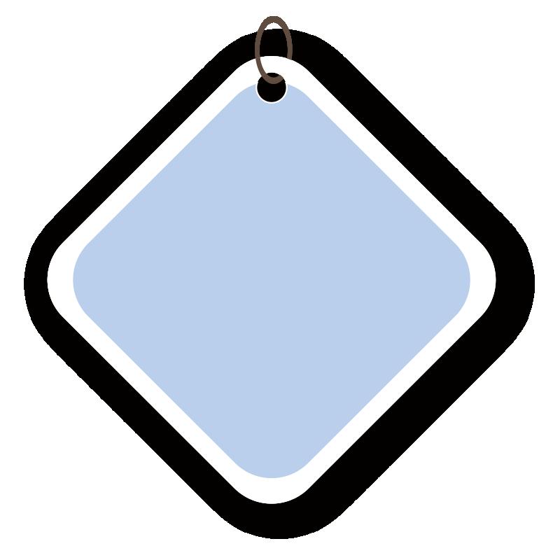 四角い青いタグ