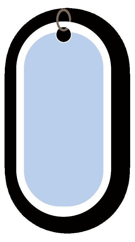 丸みのある青いタグ
