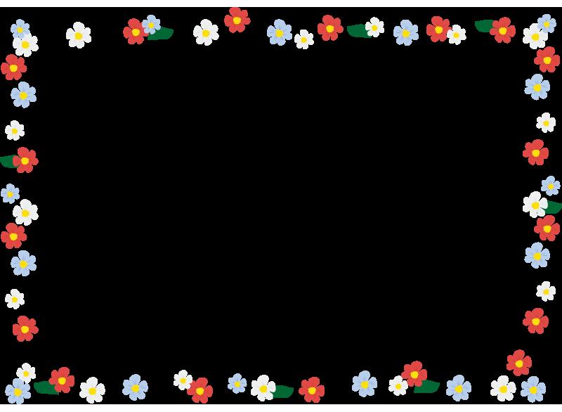 赤と青と白の花の枠