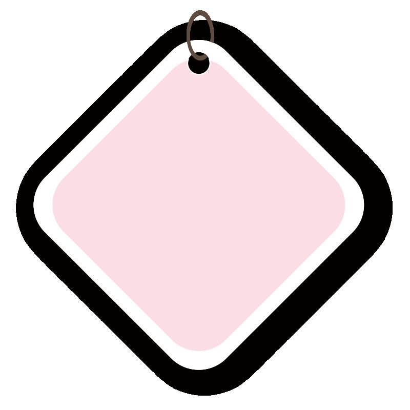 四角いピンクのタグ