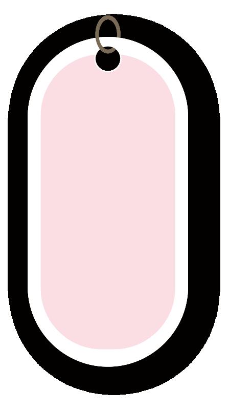 丸みのあるピンクのタグ