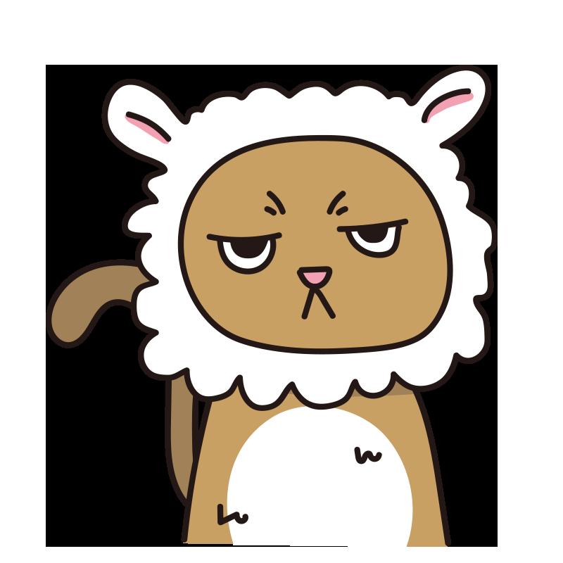 羊 のかぶりもので不機嫌な猫(茶)