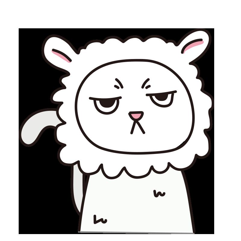 羊 のかぶりもので不機嫌な猫(白)