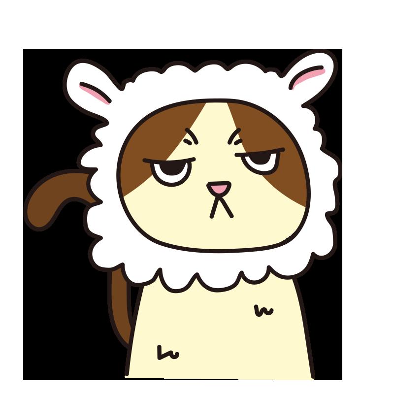 羊のかぶりもので不機嫌な猫(ハチワレ)