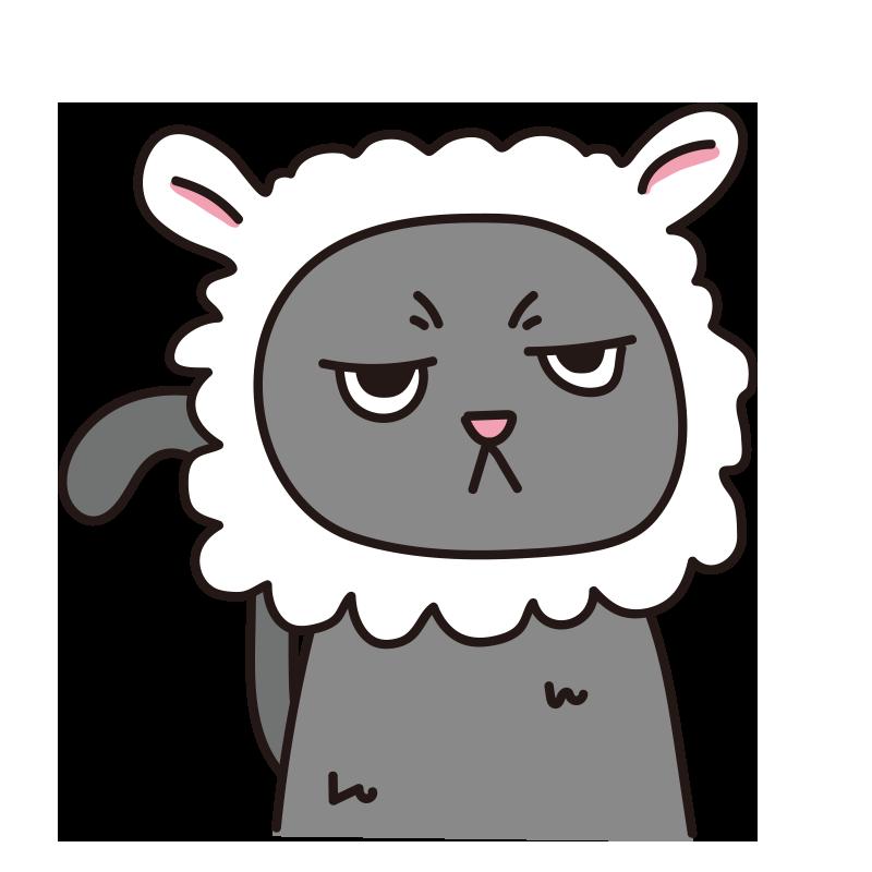 羊のかぶりもので不機嫌な猫(グレー)