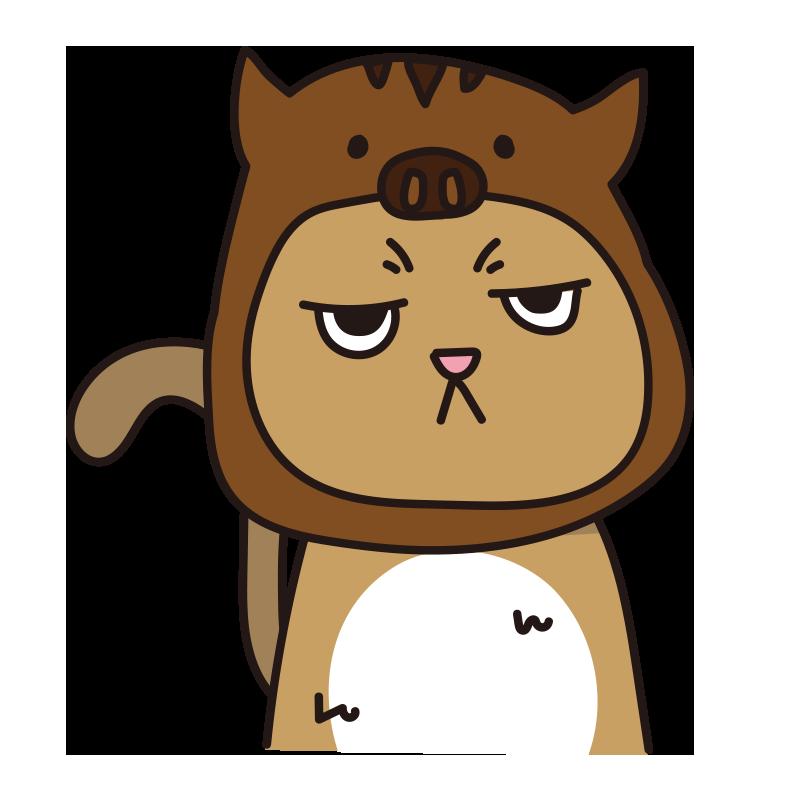 イノシシのかぶりもので不機嫌な猫(茶)