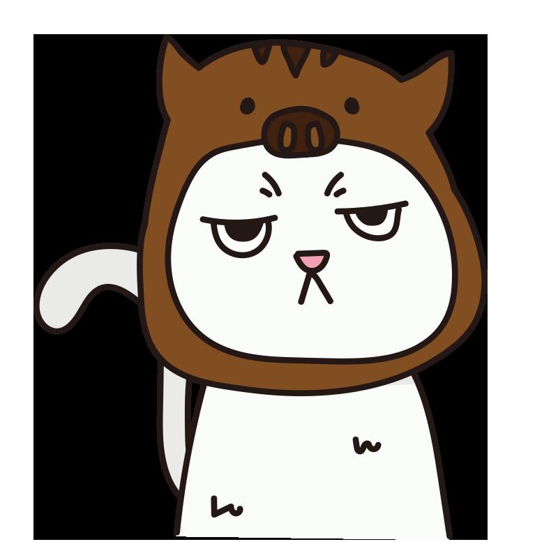 イノシシのかぶりもので不機嫌な猫(白)