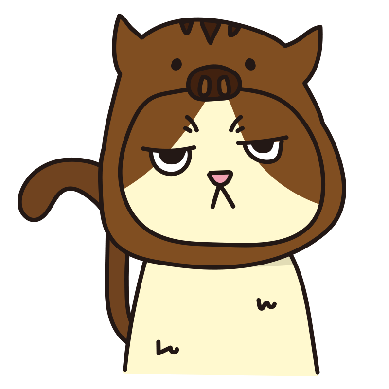 イノシシのかぶりもので不機嫌な猫(ハチワレ)