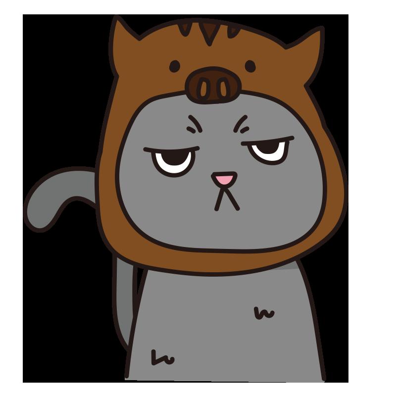 イノシシのかぶりもので不機嫌な猫(グレー)