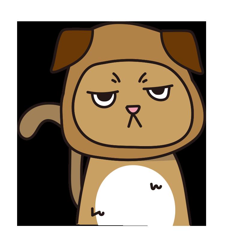 犬のかぶりもので不機嫌な猫(茶)