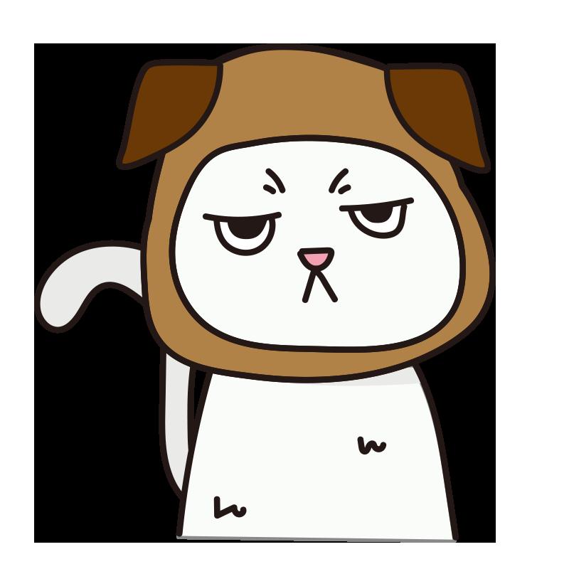 犬のかぶりもので不機嫌な猫(白)