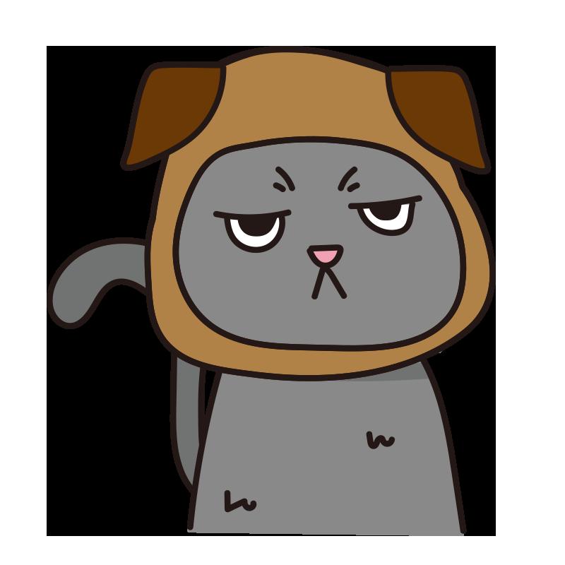 犬のかぶりもので不機嫌な猫(グレー)