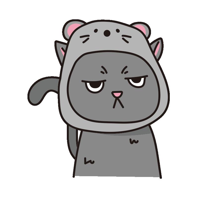 ネズミのかぶりもので不機嫌な猫(グレー)