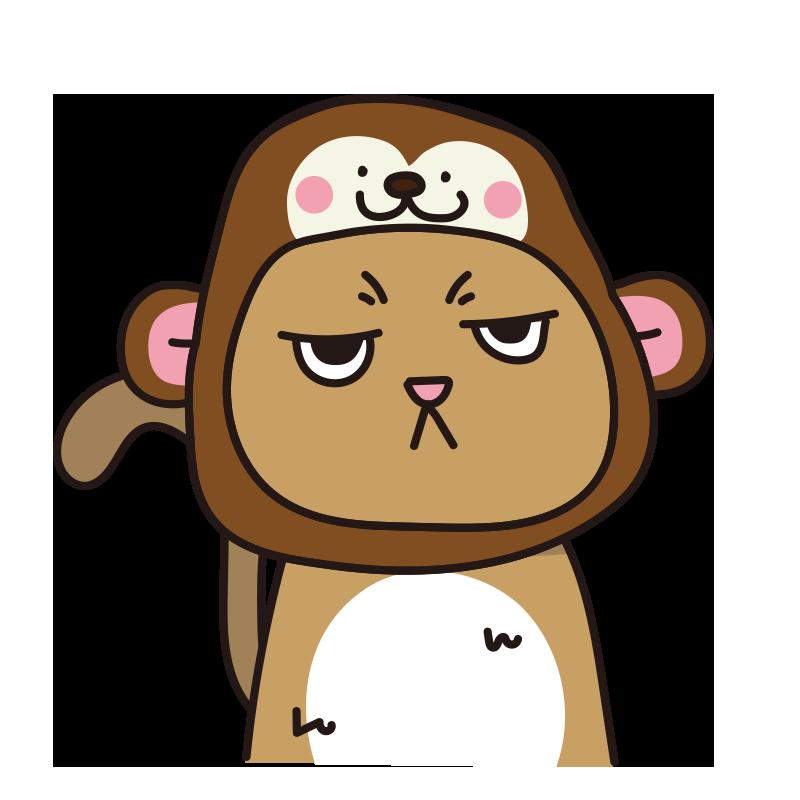 猿のかぶりもので不機嫌な猫(茶)