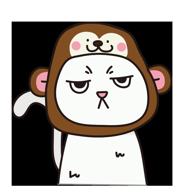 猿のかぶりもので不機嫌な猫(白)