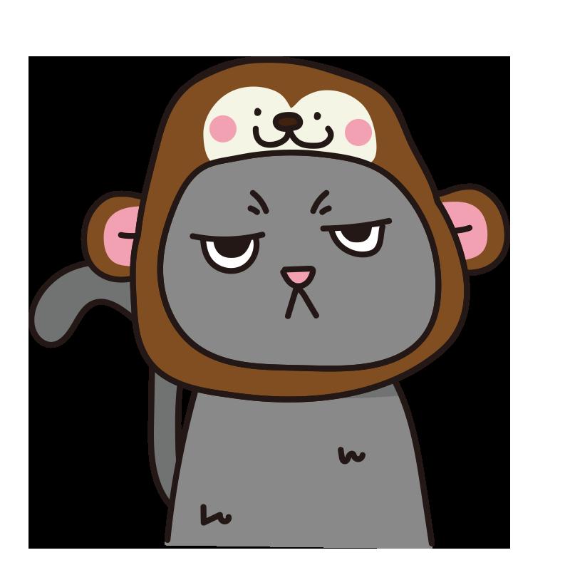 猿のかぶりもので不機嫌な猫(グレー)
