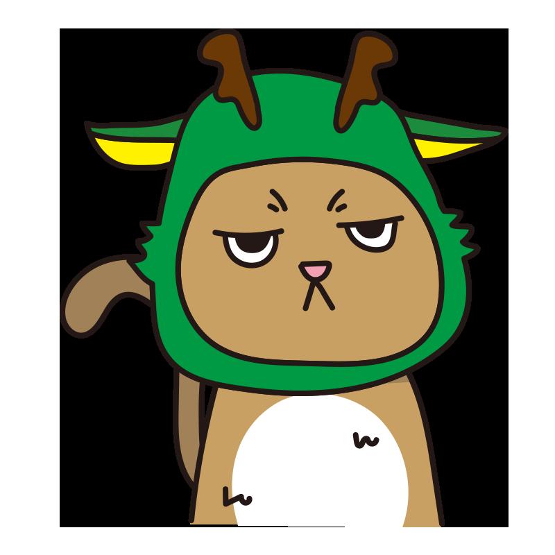辰のかぶりもので不機嫌な猫(茶)