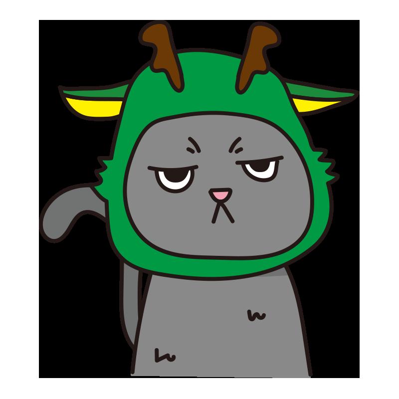 辰のかぶりもので不機嫌な猫(グレー)