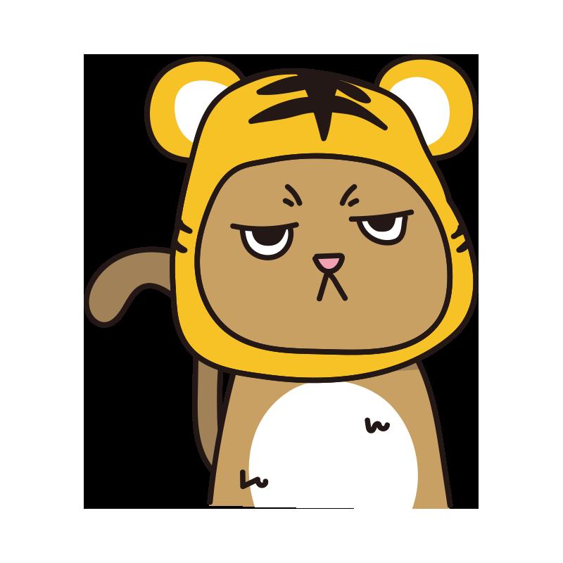 トラのかぶりもので不機嫌な猫(茶)