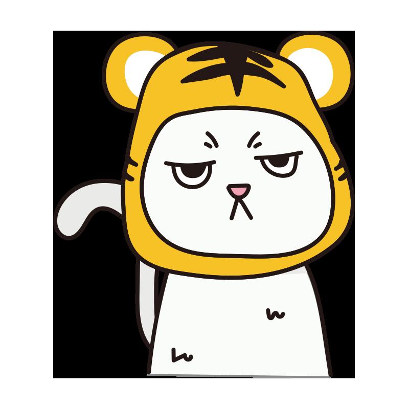 トラのかぶりもので不機嫌な猫(白)