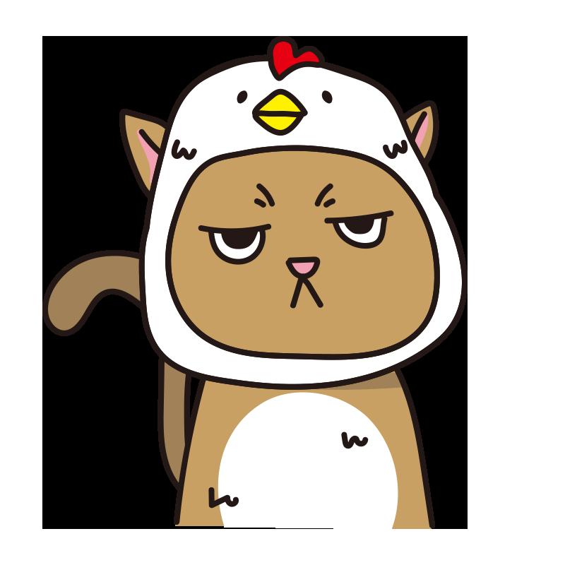 鳥のかぶりもので不機嫌な猫(茶)