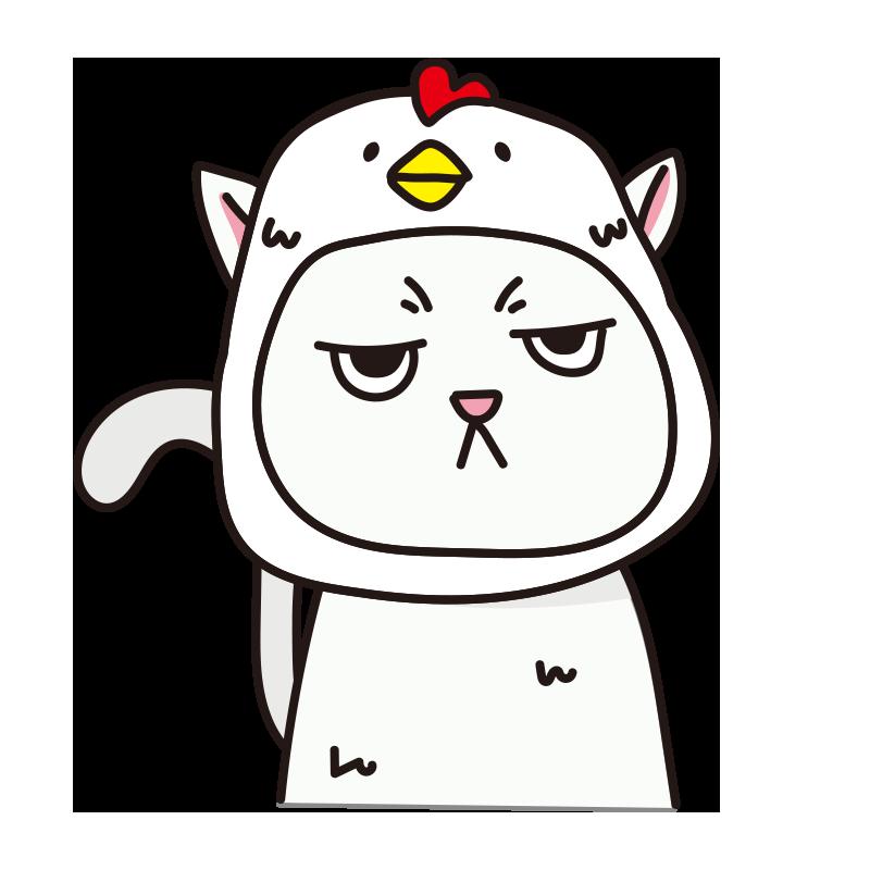 鳥のかぶりもので不機嫌な猫(白)