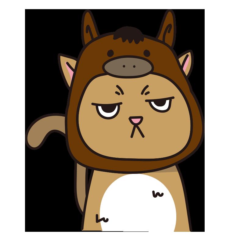 馬のかぶりもので不機嫌な猫(茶)