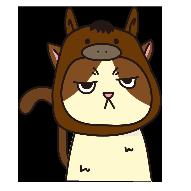 馬のかぶりもので不機嫌な猫(ハチワレ)