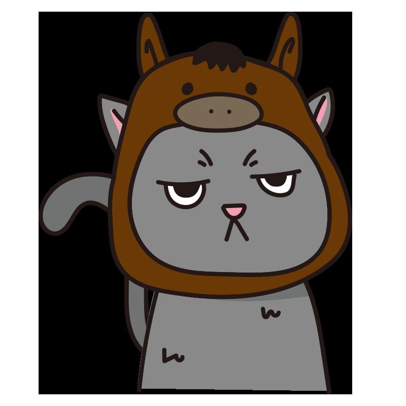 馬のかぶりもので不機嫌な猫(グレー)