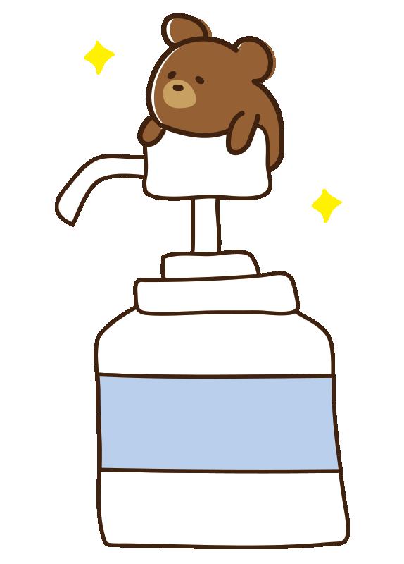 消毒液を全体重で押すクマ
