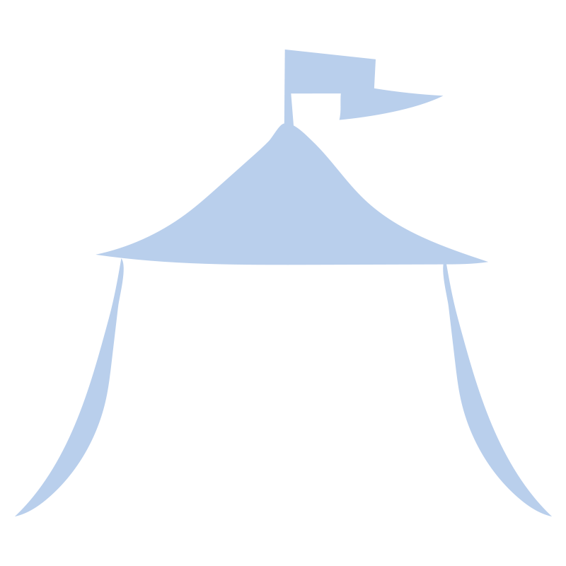 旗のなびいている青いテント