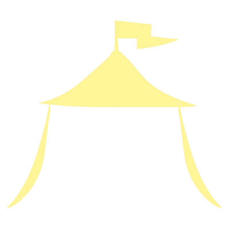 旗のなびいている黄色のテント