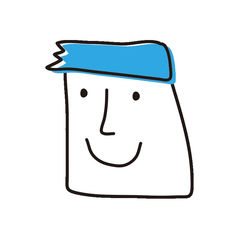 四角い顔の男性(青)