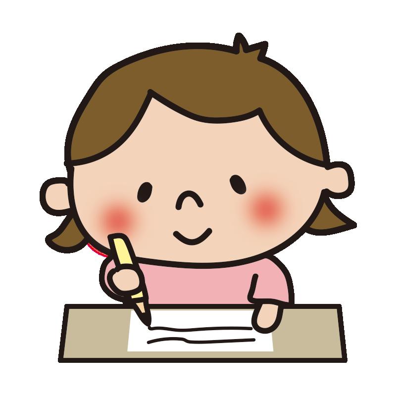 机で勉強する女の子