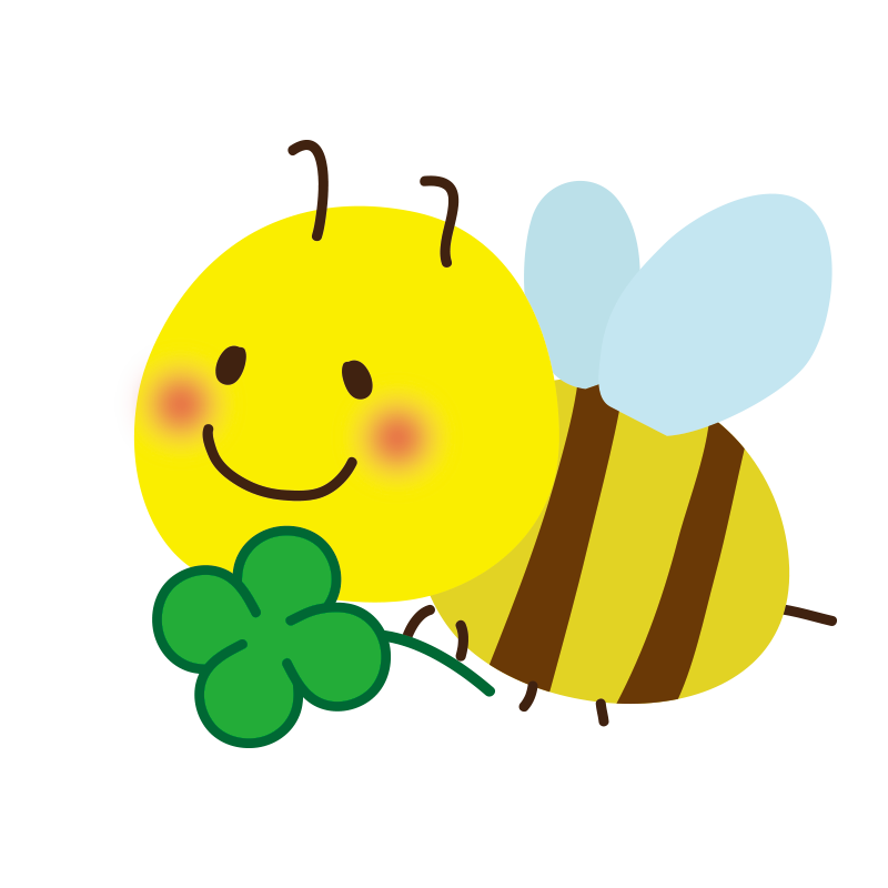 クローバーを持ったミツバチ2