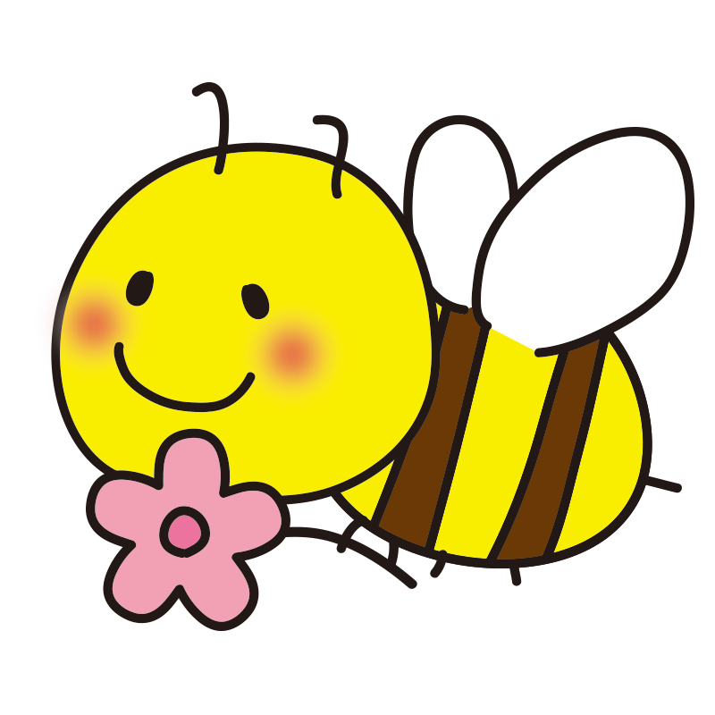 お花を持ったミツバチ1