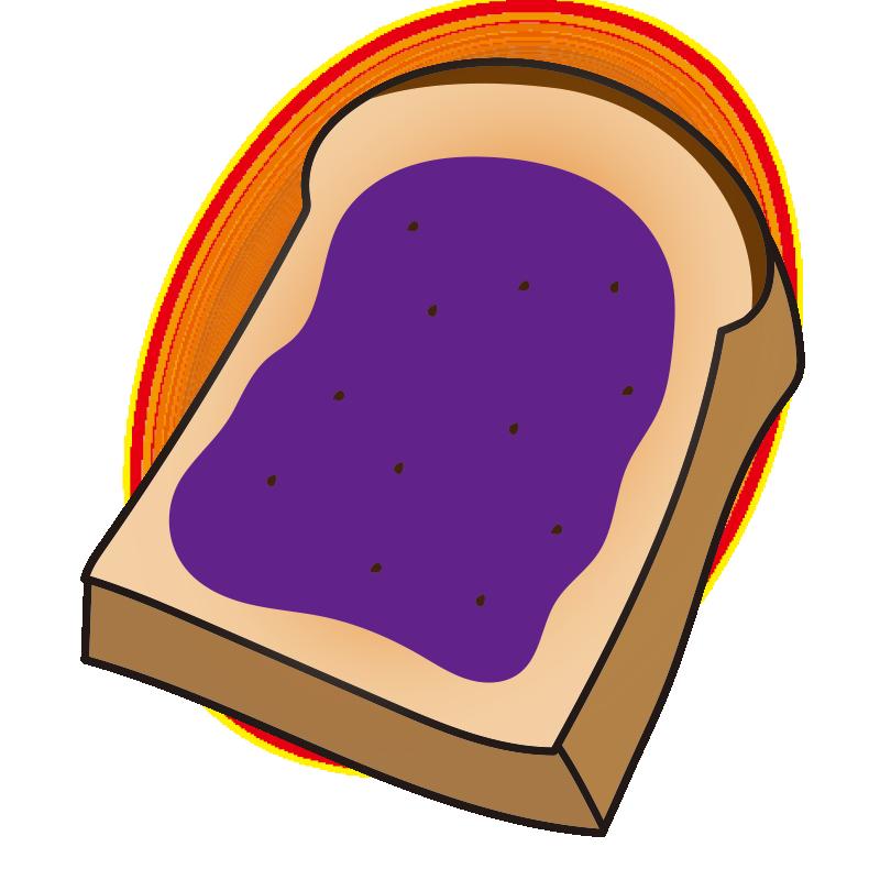 ブルーベリージャムを塗ったトースト