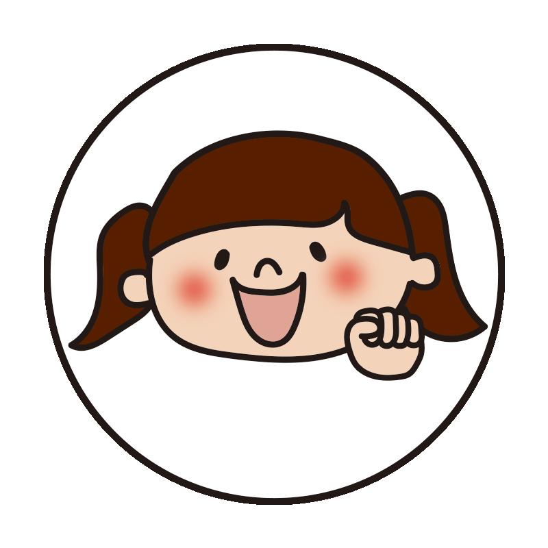 白い丸の中に女の子2(グー)