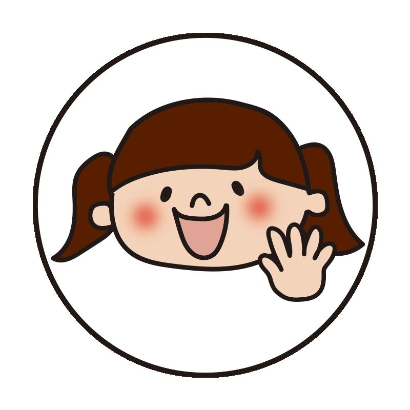 白い丸の中に女の子2(パー)