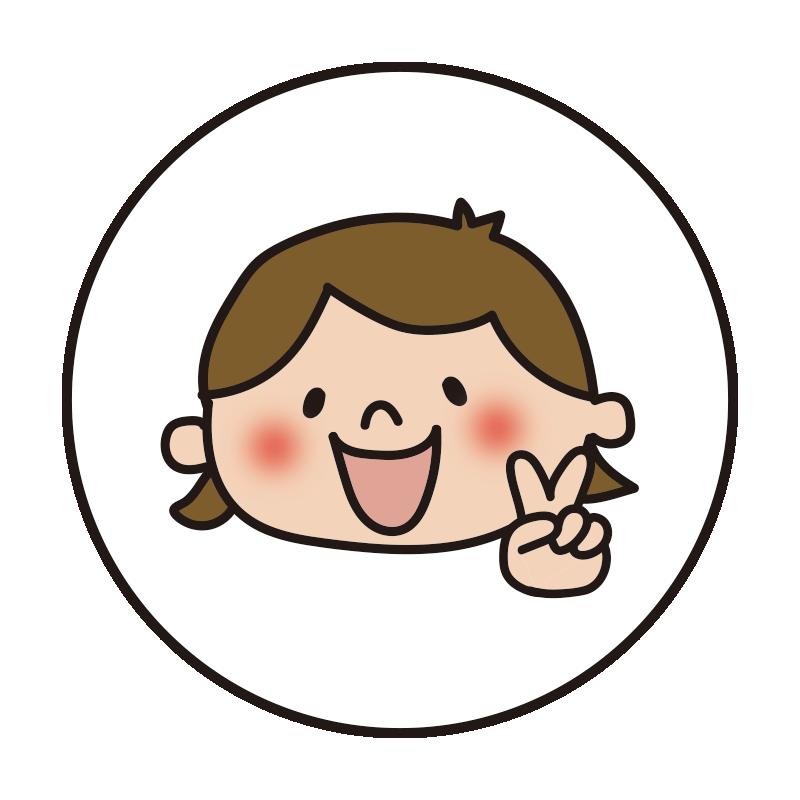白い丸の中に女の子1(チョキ)