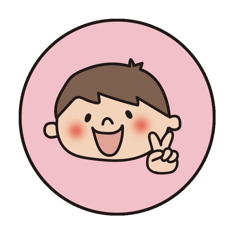 ピンクの丸枠の中に男の子2(チョキ)
