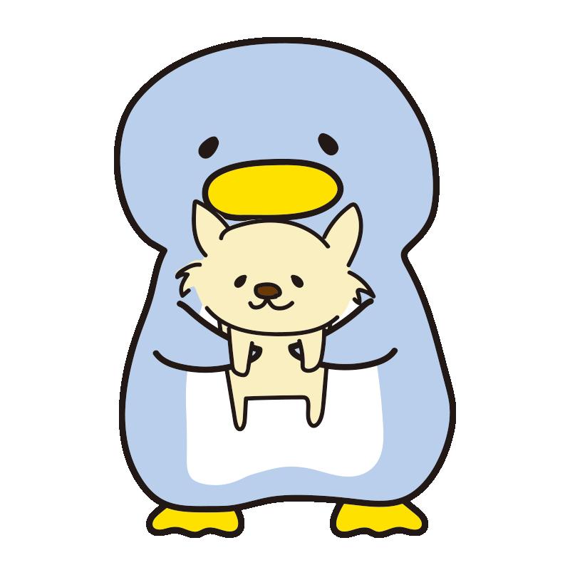 チワワを抱きしめるペンギン